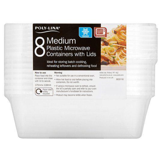 Polylina Medium Plastic Tubs and Lids 8 Pack