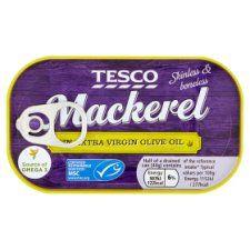 Tesco Skinless Boneless Scottish Mackerel In Olive Oil 125g