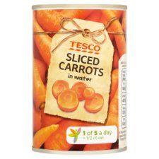 Tesco Sliced Carrots In Water 300g