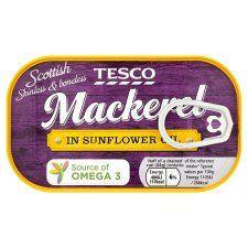 Tesco Skinless Boneless Scottish Mackerel Sunflower Oil 125g
