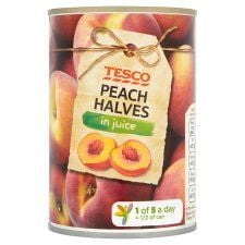 Tesco Peach Halves In Juice 410g