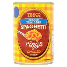 Tesco Reduced Sugar and Salt Spaghetti Rings 410g
