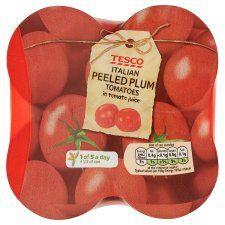 Tesco Italian Peeled Plum Tomatoes 4X400g