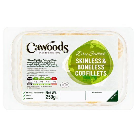 Cawoods Dried Salted Cod Skinless and Boneless 250g