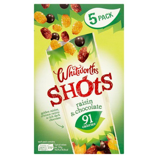 Whitworths Shot Raisin and Chocolate 5X25g