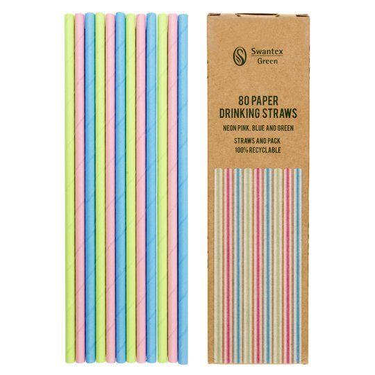 Swantex Bright Mixed Paper Straws 80 Pack