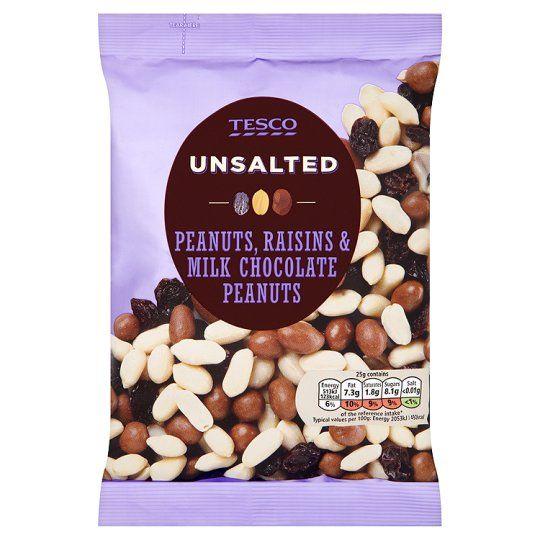 Tesco Unsalted Raisin and Chocolate Peanuts 350g
