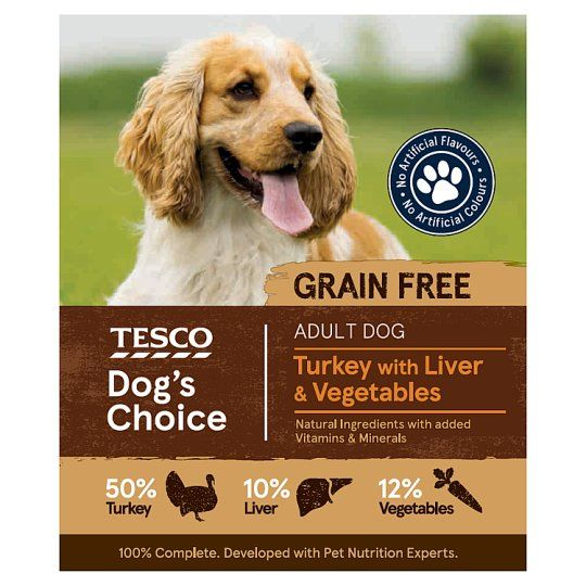 Tesco Turkey and Liver With Vegetables Dog Food Tray 400g