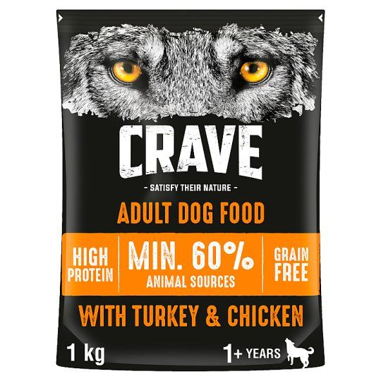 Crave High Protein Dry Dog Food Turkey and Chicken 1kg