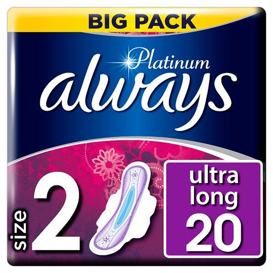 Always Platinum Long Size 2s With Wings 20 Pack