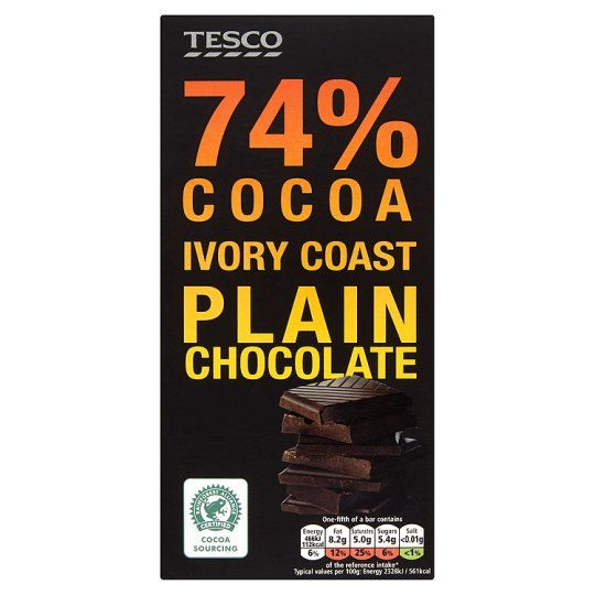Tesco 74% Cocoa Ivory Coast Plain Chocolate 100g