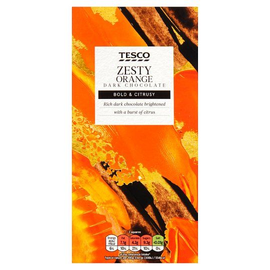 Tesco Plain Chocolate Bar With Orange 100g