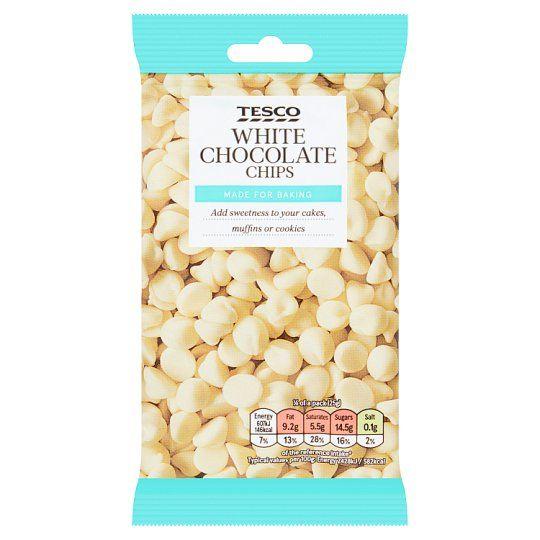 Tesco White Chocolate Chips 100g
