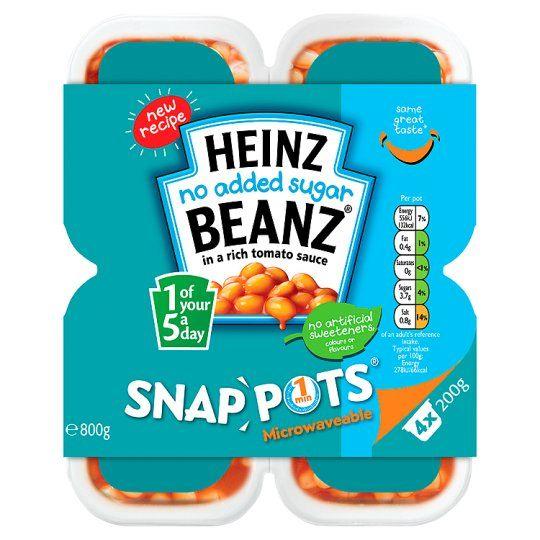 Heinz Baked Beans No Added Sugar Snap Pots 4 X200g