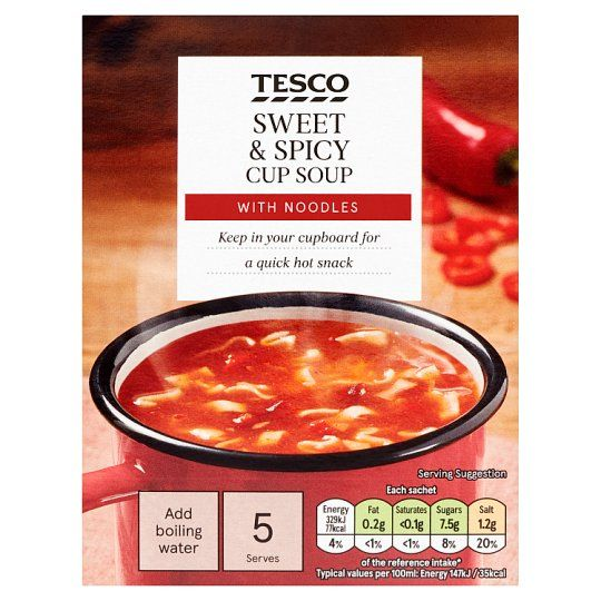 Tesco Sweet & Spicy Noodle Soup In A Mug 5 Pack 115g