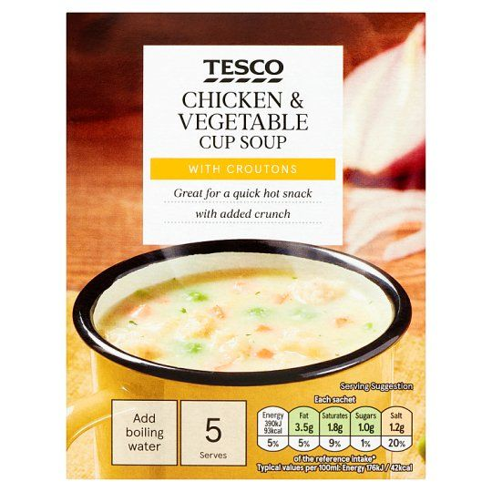Tesco Chicken, Vegetable & Croutons Soup In A Mug 5 Pack 110g