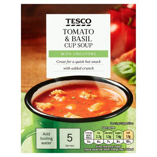 Tesco Tomato & Basil With Croutons Soup In A Mug 5 Pack 120g