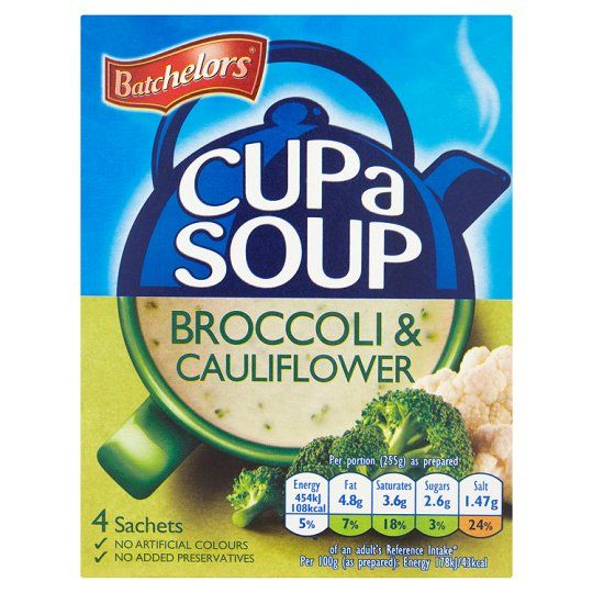 Batchelors Cup A Soup Thick and Creamy Cauliflower and Broccoli 4S 101g