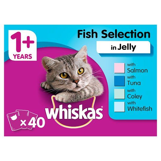 Whiskas 1+ Cat Food Pouches Fish in Jelly 40x100g