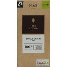 Marks And Spencer Single Origin Peru 100% Cocoa Bar 100g
