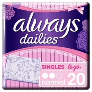 Always Dailies Singles To Go Panty Liners 20 Pack