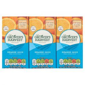 Growers Harvest Orange Juice 3X200ml