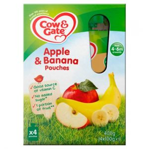 Cow & Gate Fruit Pouch Apple & Banana 4 X 100g