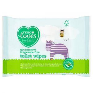 Tesco Loves Toddler Sensitive Toilet Fragrance Free Toilet Wipes 60Pk