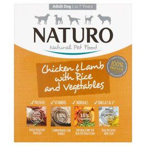 Naturo Adult Chicken Lamb Rice Vegetable Dog Food Tray 400g