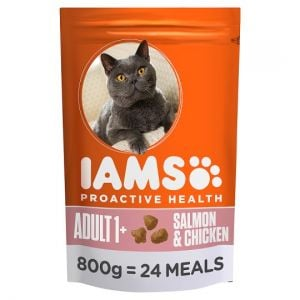 Iams Salmon and Chicken Dry Cat Food 800g