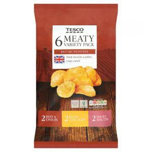 Tesco Meaty Variety Crisps 6 X 25 G