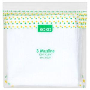 Koko Muslin Cloths White 3 Pack