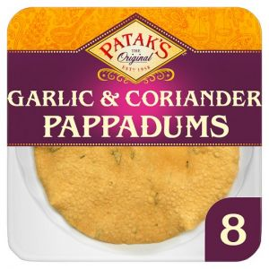 Pataks Ready To Eat Garlic and Coriander Papadums 8 Pack