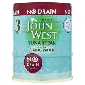 John West No Drain Tuna Steak In Spring Water 3X110g