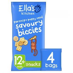 Ella's Kitchen Parsnip and Poppyseed Savoury Biscuits 4X20g
