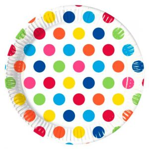 Rainbow Polka Plates 8Pk