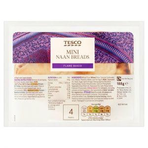 Tesco Mini Plain Naan 4Pack 188g