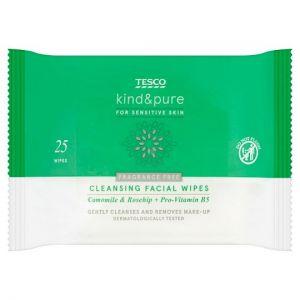 Tesco Kind and Pure Sensitive Facial Wipes x 25