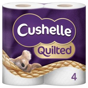 Cushelle Quilted White Rolls 4 Pack