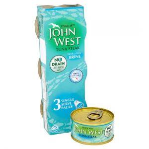 John West No Drain Tuna Steak In Brine 3X60g