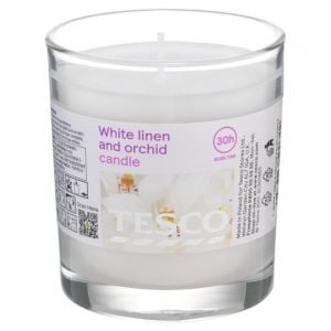 Tesco White Linen & Orchid Filled Candle