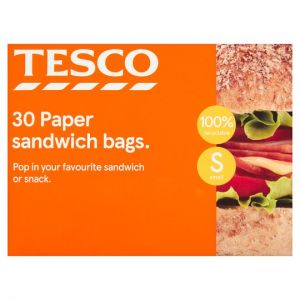 Tesco Paper Sandwich Bag 30 Pack