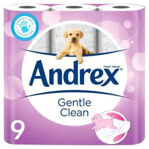 Andrex Gentle Clean Toilet Tissue 9 Roll Pack