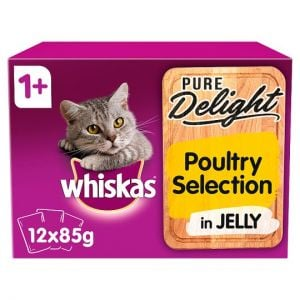 Whiskas 1+ Pure Delight Poultry Selection 12X85g