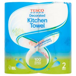 Tesco Decorated Kitchen Towel 2 Rolls