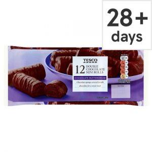 Tesco Double Chocolate Mini Rolls 12 Pack
