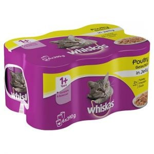 Whiskas 1+ Jelly Poultry Tinned Cat Food 6 X390g