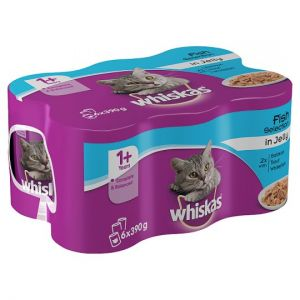 Whiskas 1+ Cat Food Tins Fish in Jelly 6x390g