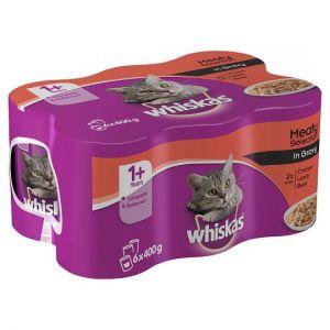 Whiskas 1+ Cat Food Tins Mixed Variety in Gravy 6x400g