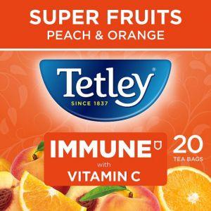 Tetley Super Fruit Immune Peach and Orange 20S 40g